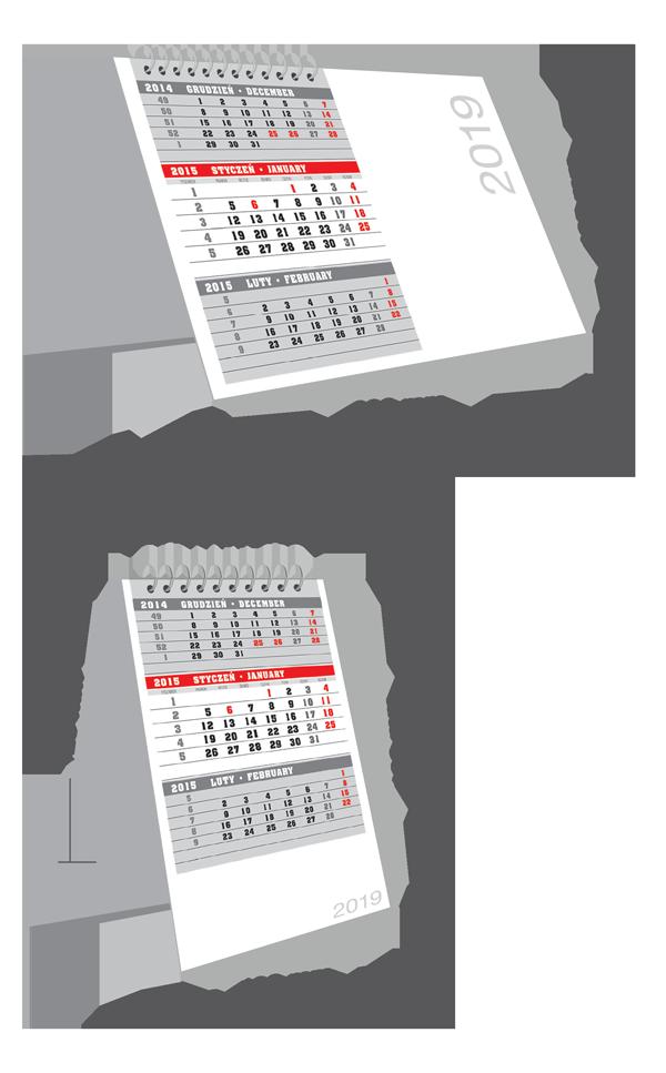 Kalendarze trójdzielne biurkowe 2021